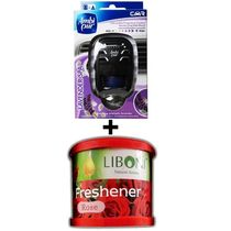 Car Perfume Ambi Pur 7ml Starter Kit & Liboni Air Freshner - Lavendor&Rose, red