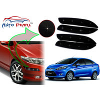 Auto Pearl - Premium Quality Car LED Blinking Bumper Protector for Ford Fiesta - Set of 4Pcs, black