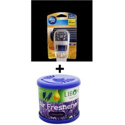Car Perfume Ambi Pur 7ml Starter Kit & Liboni Air Freshner - Sweet Citrus&Levendor, blue