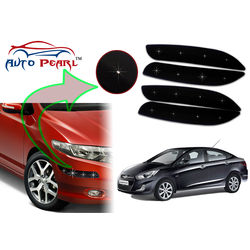 Auto Pearl - Premium Quality Car LED Blinking Bumper Protector for Hyundai Verna Fluidic - Set of 4Pcs, black