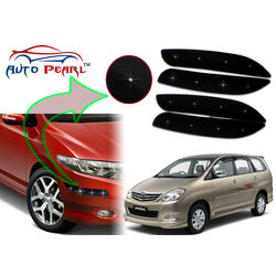 Auto Pearl - Premium Quality Car LED Blinking Bumper Protector for Toyota Innova - Set of 4Pcs, black
