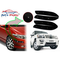 Auto Pearl - Premium Quality Car LED Blinking Bumper Protector for Mahindra Scorpio - Set of 4Pcs, black