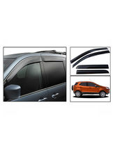 CarMobCentral Ford Ecosport Car Rain / Wind / Door Visor Side Window Deflector Set Of 4 Pieces, Black