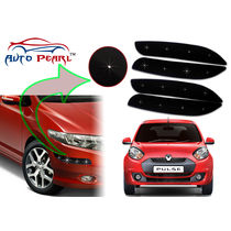 Auto Pearl - Premium Quality Car LED Blinking Bumper Protector for Renault Pulse - Set of 4Pcs, black