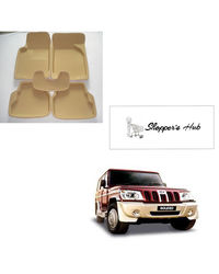 Shoppers Hub-3D Car Foot Mats for Mahindra Bolero Beige (Set of 5), beige