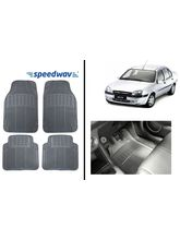 Speedwav Grey Colour Rubber Foot Mats for- Ford Ikon