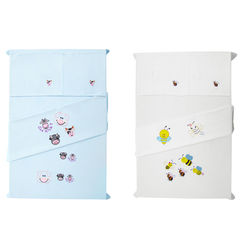 Baby Rap Piggy & Cows  N  Bee Family 4 Cot Sheets & 4 Pillow Covers Set, blue and white