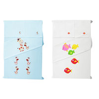 Baby Rap Fish 'N' Giraffe Families 4 Cot Sheets & 4 Pillow Covers Set, blue and white