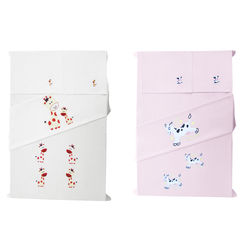 Baby Rap Goraffe Family  N  Cow over the moon 4 Cot Sheets & 4 Pillow Covers Set, white and pink