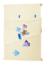 Baby Rap Star Fish, Sea Horse & Fish 2 Cot Sheets & 2 Pillow Covers Set, lemon