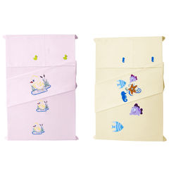 Baby Rap Bright Duck  N  Star Fish, Sea Horse & Fish 4 Cot Sheets & 4 Pillow Covers Set, pink and lemon