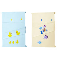 Baby Rap Duck & Duckling 'N' Star Fish, Sea Horse & Fish 4 Cot Sheets & 4 Pillow Covers Set, lemon and blue