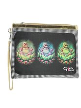 Wink Ideas Digital Printed Satin and Velvet Pouch For Women, black