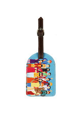 The Elephant Company Happy Family Cyan Luggage Tag, multicolor