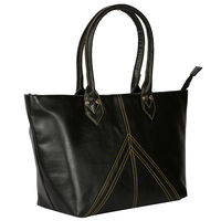 Ivy Contrast Stitch Handbag, black