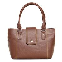 Ivy Brown Contrast Stitch Handbag (4509_ 02),  brown