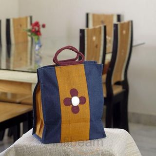 Elegant Multi Color Handcrafted Utility Bag of Recycled Jute_33 (Multicolor)