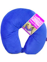 Viaggi Microbead Travel Neck Pillow with fleece, royal blue