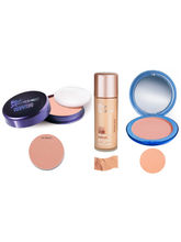 Blue Heaven Xpression Pan Cake 62, Oil Free Cream Beige Foundation & Silk On Face Blush Compact Combo
