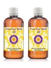 Deve Herbes Pure Flax Seed Oil - Pack of Two (100ml+ 100ml) Linum usitatissimum 100% Natural Cold pressed