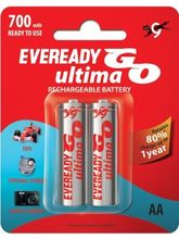 Eveready Ultima GO 700AA (2 Pcs - Ready-to-Use 700 BP2) Rechargeable Battery