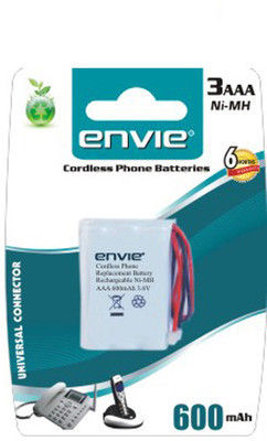 Envie Cordless 3 x AAA 600 Ni CD Rechargeable Battery, multicolor