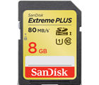 SanDisk Class 10 Extreme PLUS SDHC UHS-I 8GB 80MB/S card, multicolor