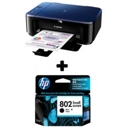 Canon PIXMA E510 Multifunction Inkjet Printer+ HP 802 Small Black Ink Cartridge, multicolor
