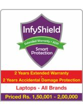 InfyShield 2 Yrs Extended Warranty+ 2 Yrs Accidental Damage Protection on Laptops Rs. 1, 50, 001 - 2, 00, 000