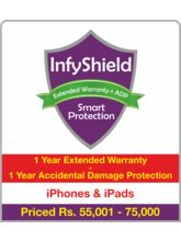 InfyShield 1 Yr Extended Warranty+ 1 Yr Accidental Damage Protection on iPhone & iPad Rs. 55001 - 75000