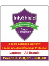 InfyShield 2 Yrs Extended Warranty+ 2 Yrs Accidental Damage Protection on Laptops Rs. 2, 50, 001 - 3, 50, 000