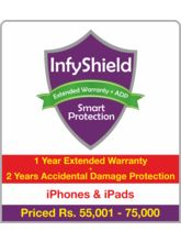 InfyShield 1 Yr Extended Warranty+ 2 Yrs Accidental Damage Protection on iPhone & iPad Rs. 55001 - 75000