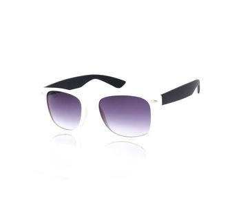 Creed Fascinating Matte White-n-Black Wayfarer sunglasses, grey