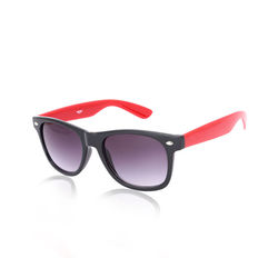 Creed Demanding Glossy Black-n-Red Wayfarer sunglasses, blue