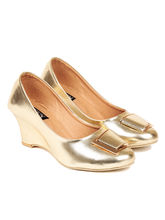 TEN Women's Synthetic Leather Wedges, gold, 37