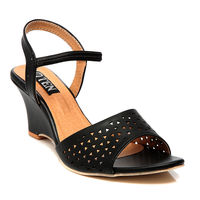 TEN Synthetic Leather Wedges,  black, 38