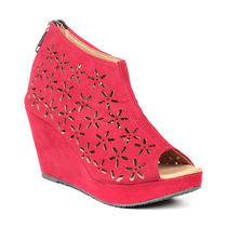 TEN Women's Suede Wedges,  red, 36