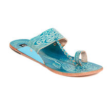 TEN Women's Ethnic Slippers, turquoise, 36