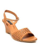 TEN Synthetic Leather Wedges, tan, 39