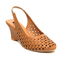 TEN Synthetic Leather Wedges,  tan, 37