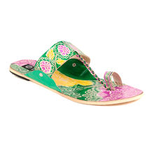 TEN Women's Ethnic Slippers,  green, 37