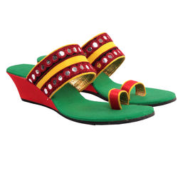 Maalpani Traditional Mirror Wedges For Women - MAP09015, multicolor, 8
