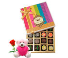 Chocholik Yummy Sapphire Chocolates Gift Box With Teddy and Rose - Belgium Chocolates
