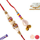 Traditional Rakhi Set For Bhaiya Bhabhi, rakhi with 200gms kaju katali