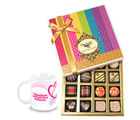 Chocholik Simple Elegance Of Dark And White Truffles And Chocolates With Love Mug - Belgium Chocolates