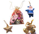 Home Made Chocolate Pouch With Hanging Bell, Star & Santa