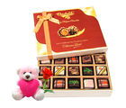 Chocholik Delicious Chocolates With Teddy and Rose - Belgium Chocolates