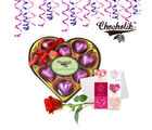 Chocholik 9pc Heart Shape Wrapped Luxury Chocolates with Rose and Card