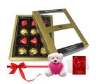 Chocholik Attractive Treat Of Wrapped Chocolates With Teddy And Love Card - Luxury Chocolates