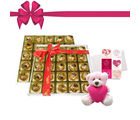 Chocholik's Perfect Combination of Almond and Fruit & Nut Chocolate Truffles With Love Card and Teddy
